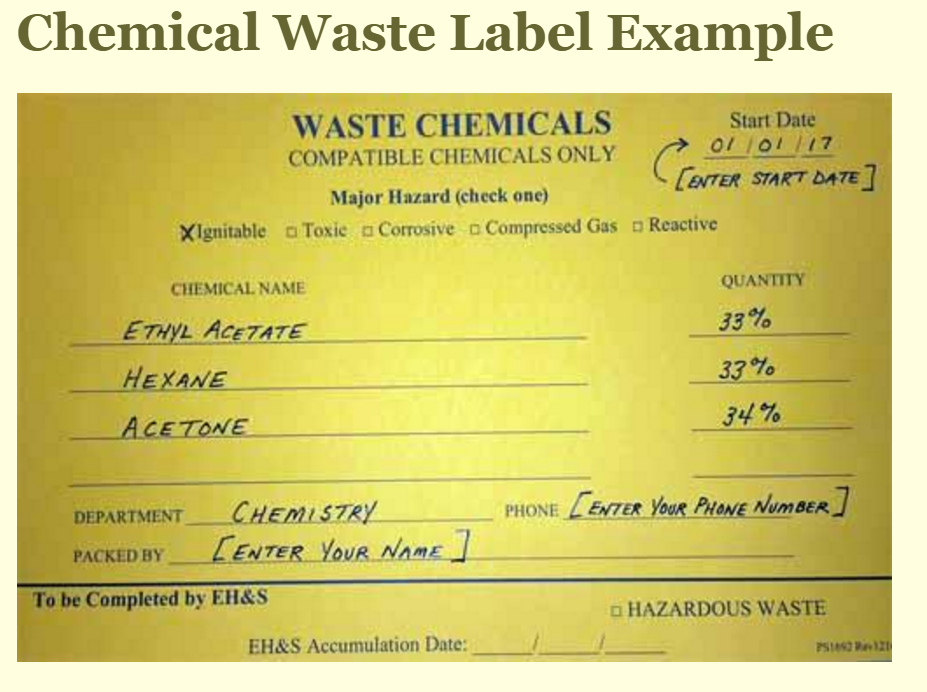 Chemical Waste Information Labeling Department Of